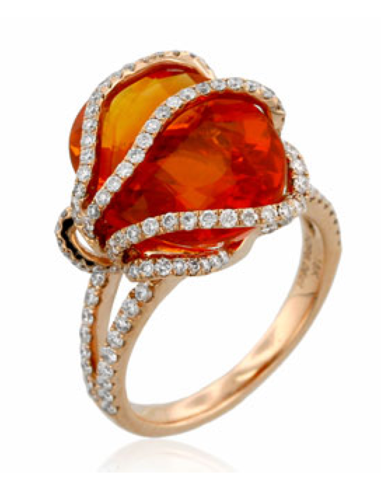 Yael Rose Gold Diamond Fire Opal Ring - Talisman Collection