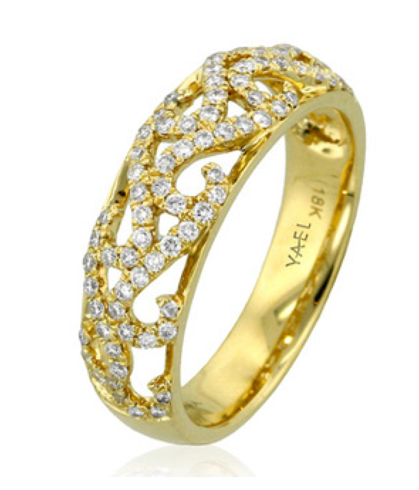 Yael Diamond & Yellow Gold Stacking Band Ring Style #07790 - Talisman Collection