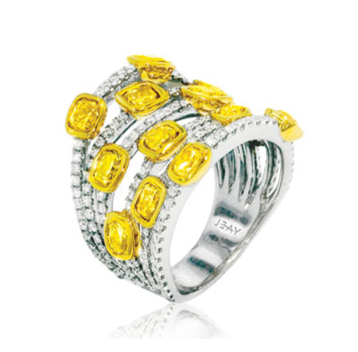 "White Gold and Diamond ""Bubble"" Ring with Yellow Gold and Canary Diamond Accents"