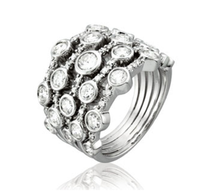 "White Gold & Diamond ""Bubble Ring"" by Yael Designs - Talisman Collection"