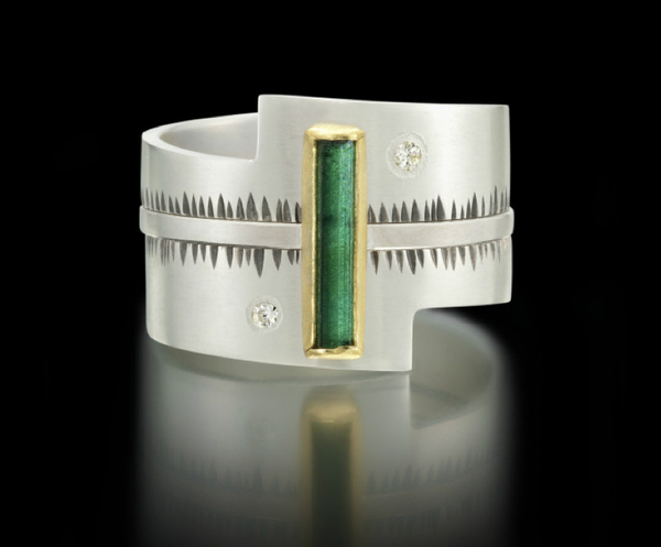 Green Tourmaline Silver, 22k Yellow Gold and Diamond Ring