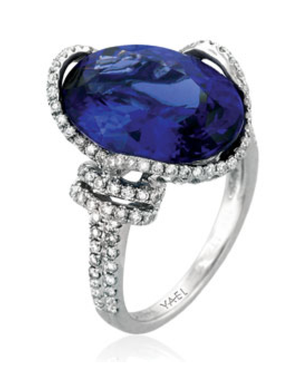 Oval Tanzanite and Diamond Ring by Yael - Talisman Collection Fine Jewelers