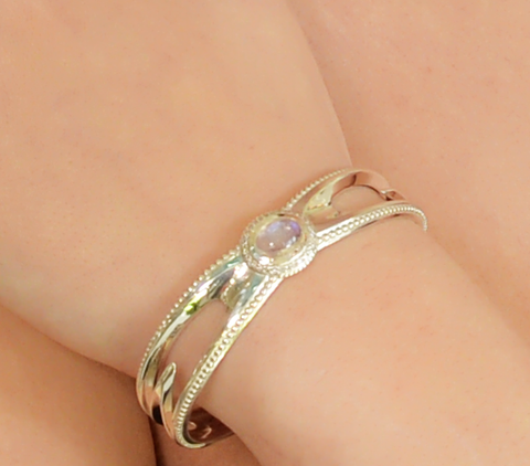 """Water Drop"" Moonstone Sterling Diamond Cuff Bangle Bracelet"