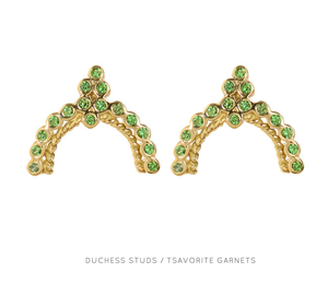 """Duchess Stud"" 18k Yellow Gold Tsavorite Earrings by Unhada - Talisman Collection Fine Jewelers"
