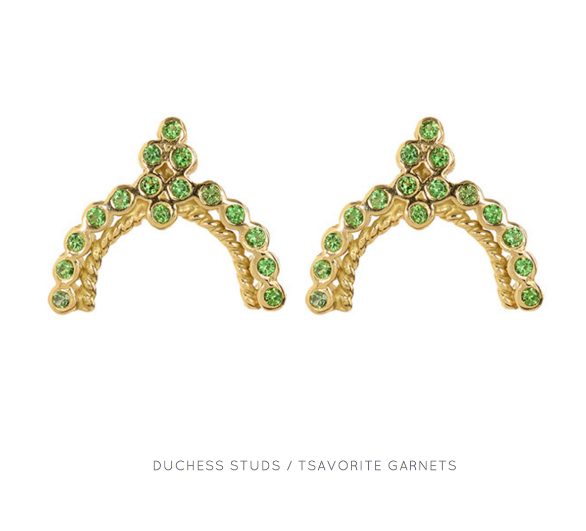 """Duchess Stud"" 18k Yellow Gold Tsavorite Earrings by Unhada - Talisman Collection"