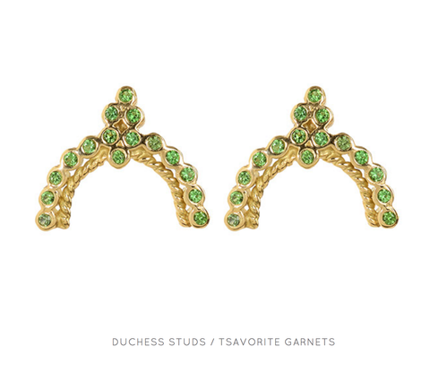 """Duchess Stud"" 18k Yellow Gold Tsavorite Earrings by Unhada"