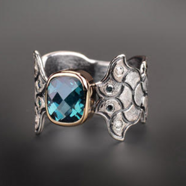 Swiss Blue Topaz A Mermaid's Tale/Tail Ring by Margisa - Talisman Collection Fine Jewelers