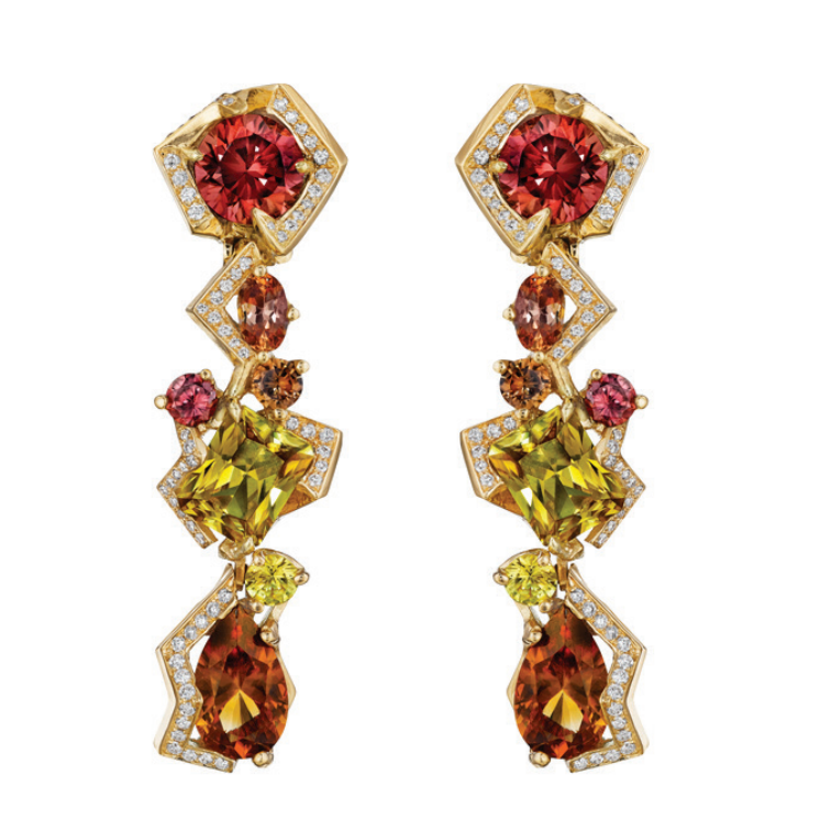 Zircon, Tourmaline and Diamond Zeus Earrings by MadStone - Talisman Collection Fine Jewelers