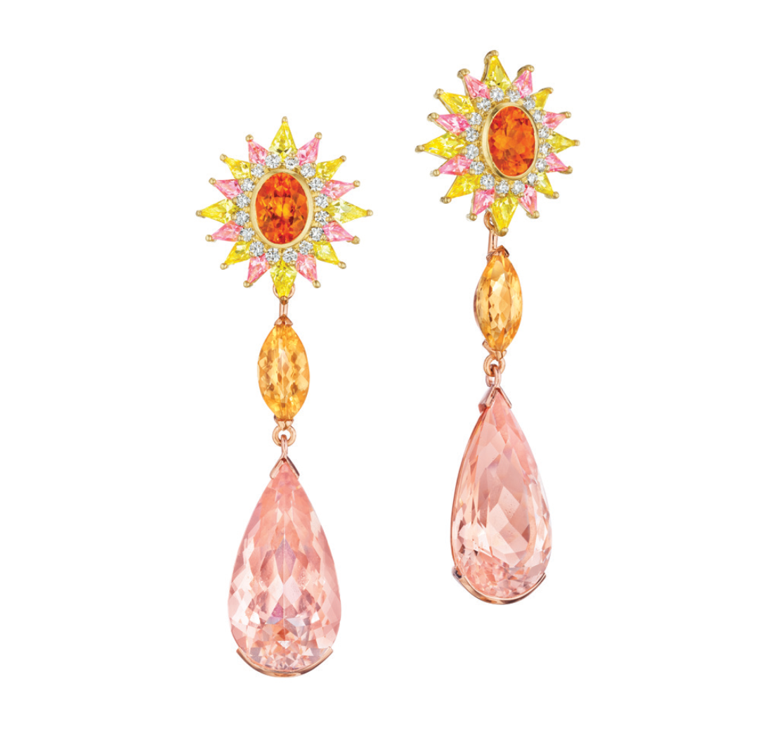 Morganite, Imperial Topaz and Pink Sapphire Mythology Collection Aphrodite Earrings by MadStone - Talisman Collection Fine Jewelers