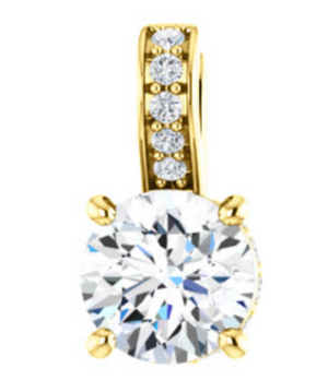 Custom 14k Yellow Gold Diamond Pendant by Talisman Collection Fine Jewelers - Talisman Collection