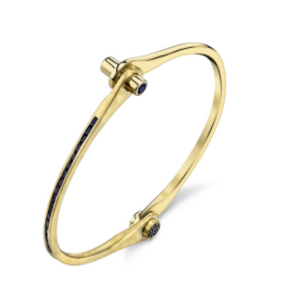 Borgioni 18k Sapphire Handcuff Hinged Bangle Bracelet - Talisman Collection