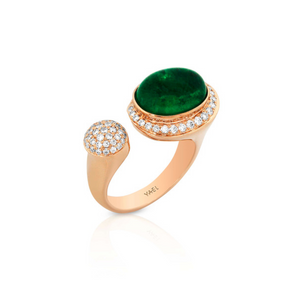 Yael Designs Emerald Diamond 18k Rose Gold Moi et Toi Ring - Talisman Collection