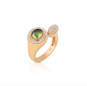 Yael Designs Knockout! Opal Diamond 18k Rose Gold Moi et Toi Ring - Talisman Collection