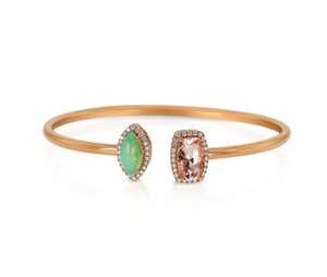 Yael Designs 18k Rose Gold Diamond Opal Morganite Flexible Cuff  Moi et Toi Bracelet - Talisman Collection