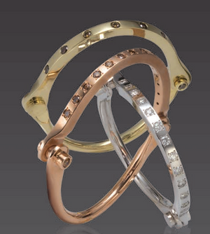 "Borgioni Solid Rose Gold Fancy Color Brown Diamond ""Handcuff"" Hinged Bangle Bracelet - Talisman Collection"