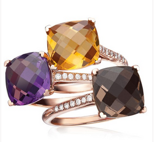 10mm Cushion-Cut Gemstone and Diamond Ring by Lisa Nik - Talisman Collection Fine Jewelers