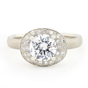Anne Sportun Oval Double Halo Engagement Ring