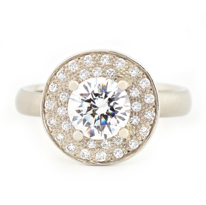 Double Halo Engagement Ring by Anne Sportun - Talisman Collection Fine Jewelers