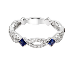 14k White Gold Blue Sapphire and Diamond Stacking Band - Talisman Collection Fine Jewelers