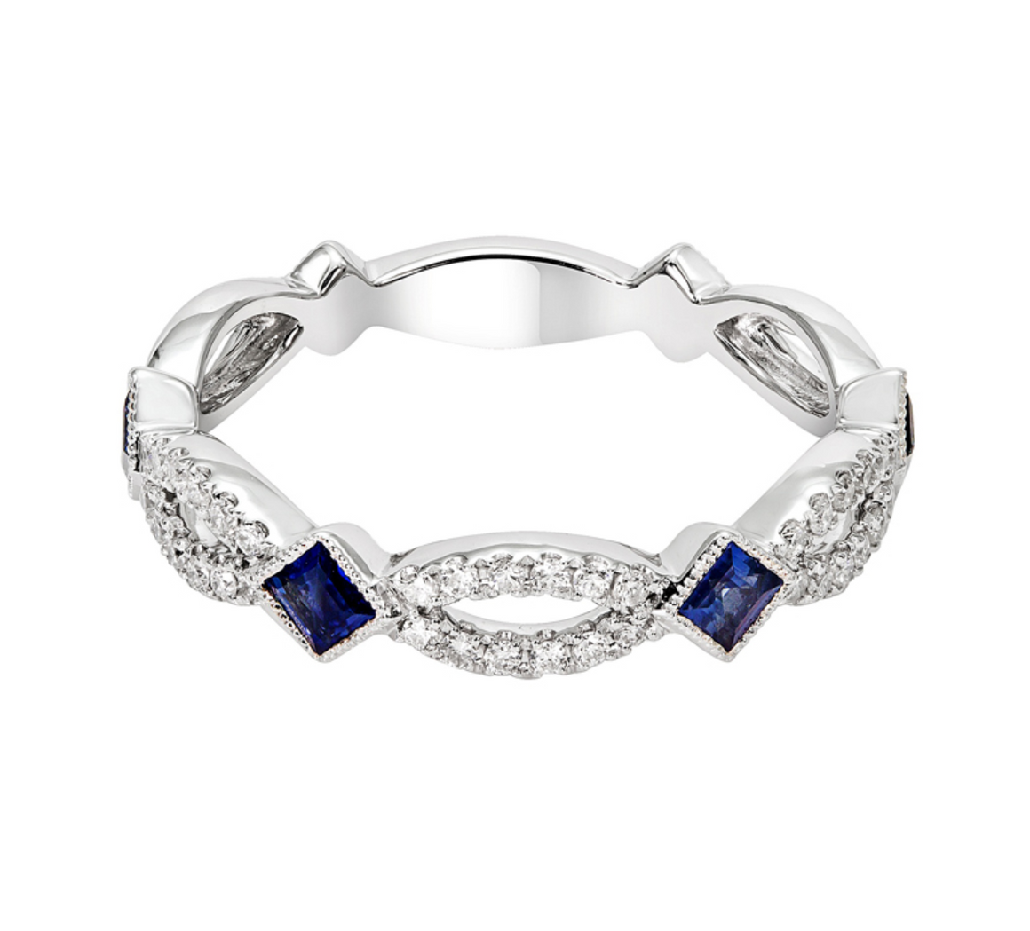 14k White Gold Blue Sapphire and Diamond Stacking Band