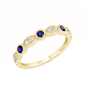 14k Gold Blue Sapphire and Diamond Stacking Band - Talisman Collection Fine Jewelers