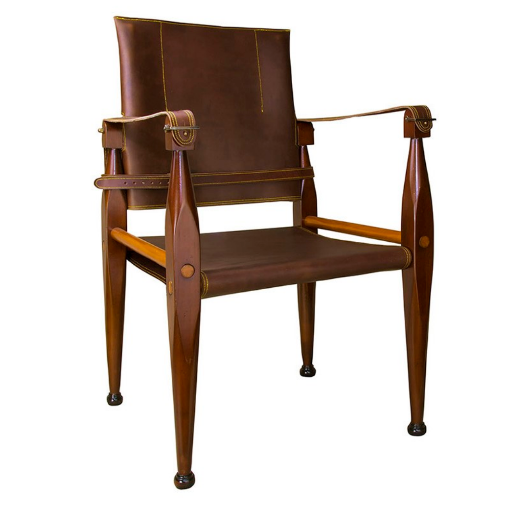 Authentic Models Bridle Leather Campaign Chair - Talisman Collection Fine Jewelers