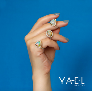 Opal and Diamond Ring by Yael - Rose Gold - Talisman Collection Fine Jewelers