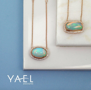 Rectangular White Opal and Diamond Necklace by Yael - Yellow Gold - Talisman Collection Fine Jewelers