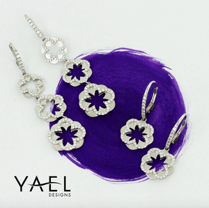 Yael 14k White Gold Diamond Flower Drop Earrings