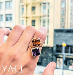 Amethyst Flower and Diamond Ring by Yael - Rose Gold - Talisman Collection Fine Jewelers