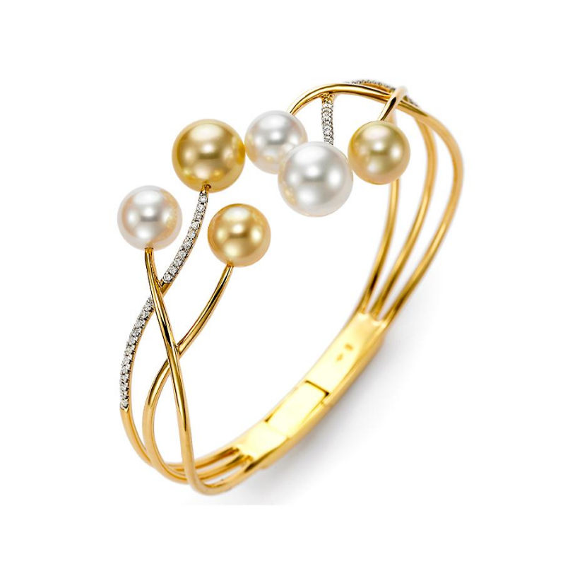 18k Yellow Gold South Sea Pearl and Diamond Cuff Bracelet by Mastoloni - Talisman Collection Fine Jewelers
