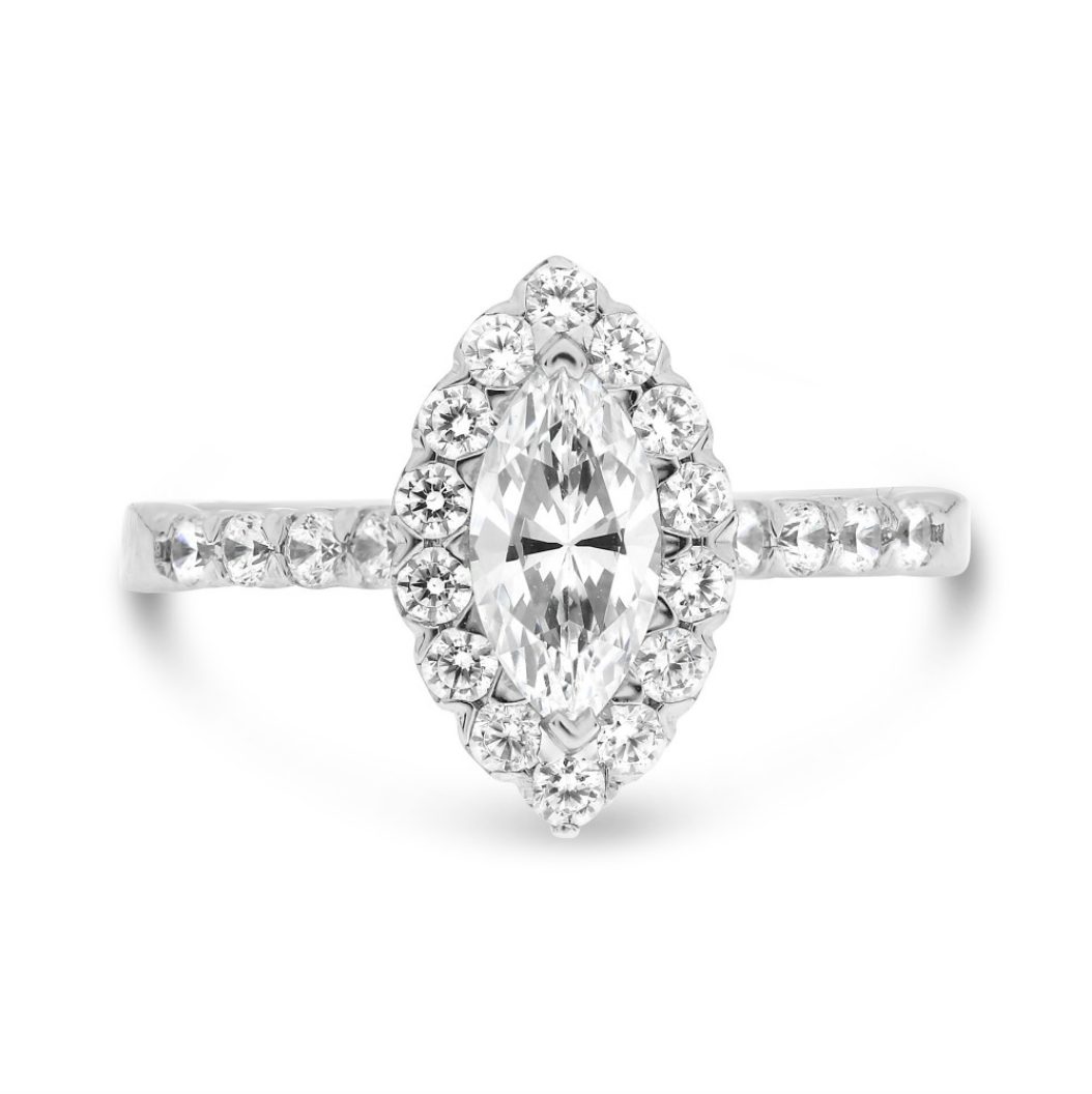 14k White Gold Marquise Diamond Halo Ring - Talisman Collection
