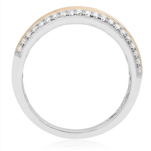 Two-Tone Gold, Pink and White Diamond Band - Talisman Collection Fine Jewelers