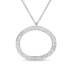 Diamond Pave Oval Necklace in White, Yellow or Rose Gold - Talisman Collection Fine Jewelers