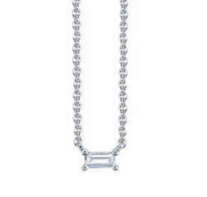 Single Diamond Baguette Necklace by Borgioni - Talisman Collection Fine Jewelers