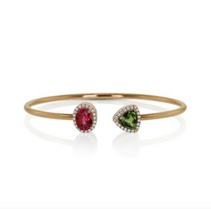 Pink Tourmaline, Green Tourmaline and Diamond Moi et Toi Bracelet by Yael