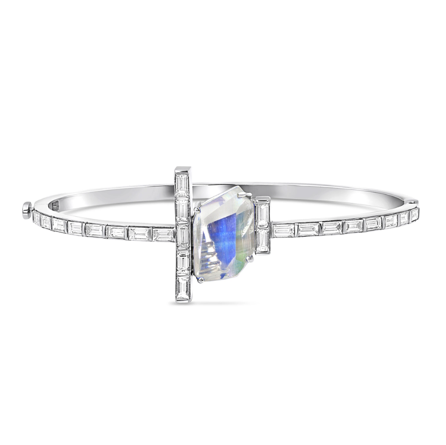 Moonstone Baguette Hinged Bracelet by Meredith Young - Talisman Collection Fine Jewelers