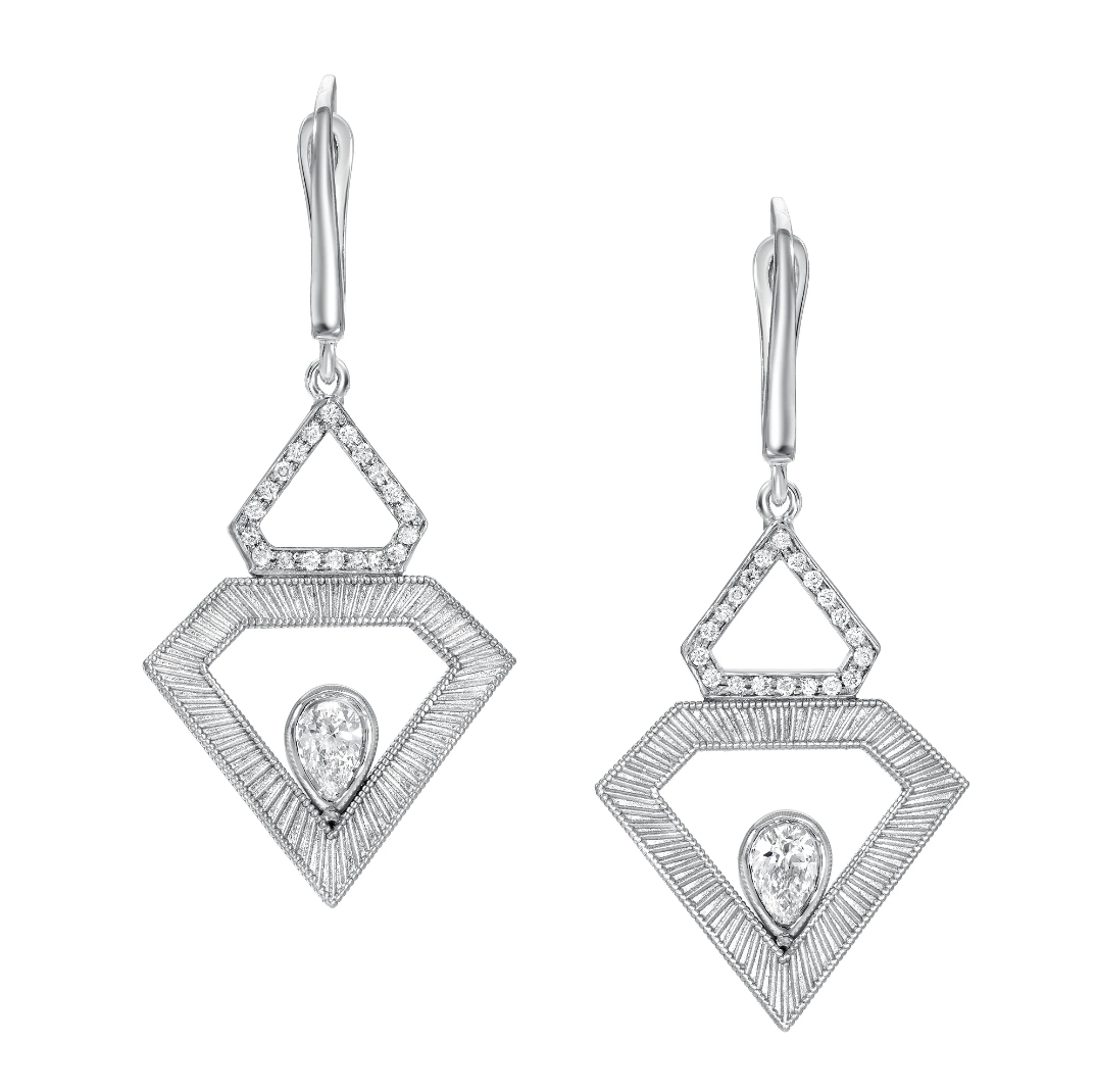 Diamond Pave Shield Earrings by Meredith Young - Talisman Collection Fine Jewelers