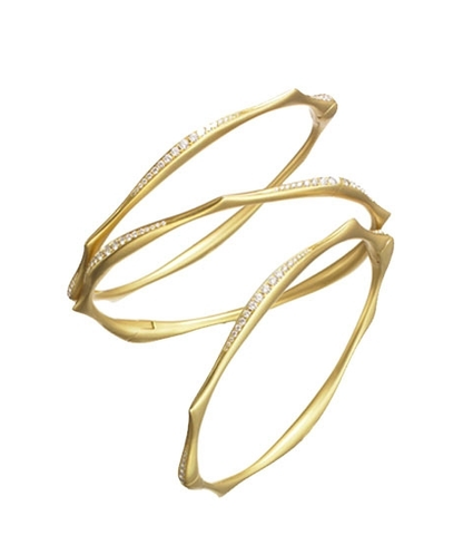 Anahita 18k yg Diamond Wave Bangle Bracelets