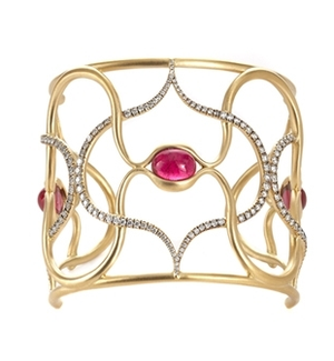 Diamond and Rubellite Cuff Bracelet by Anahita - Talisman Collection Fine Jewelers