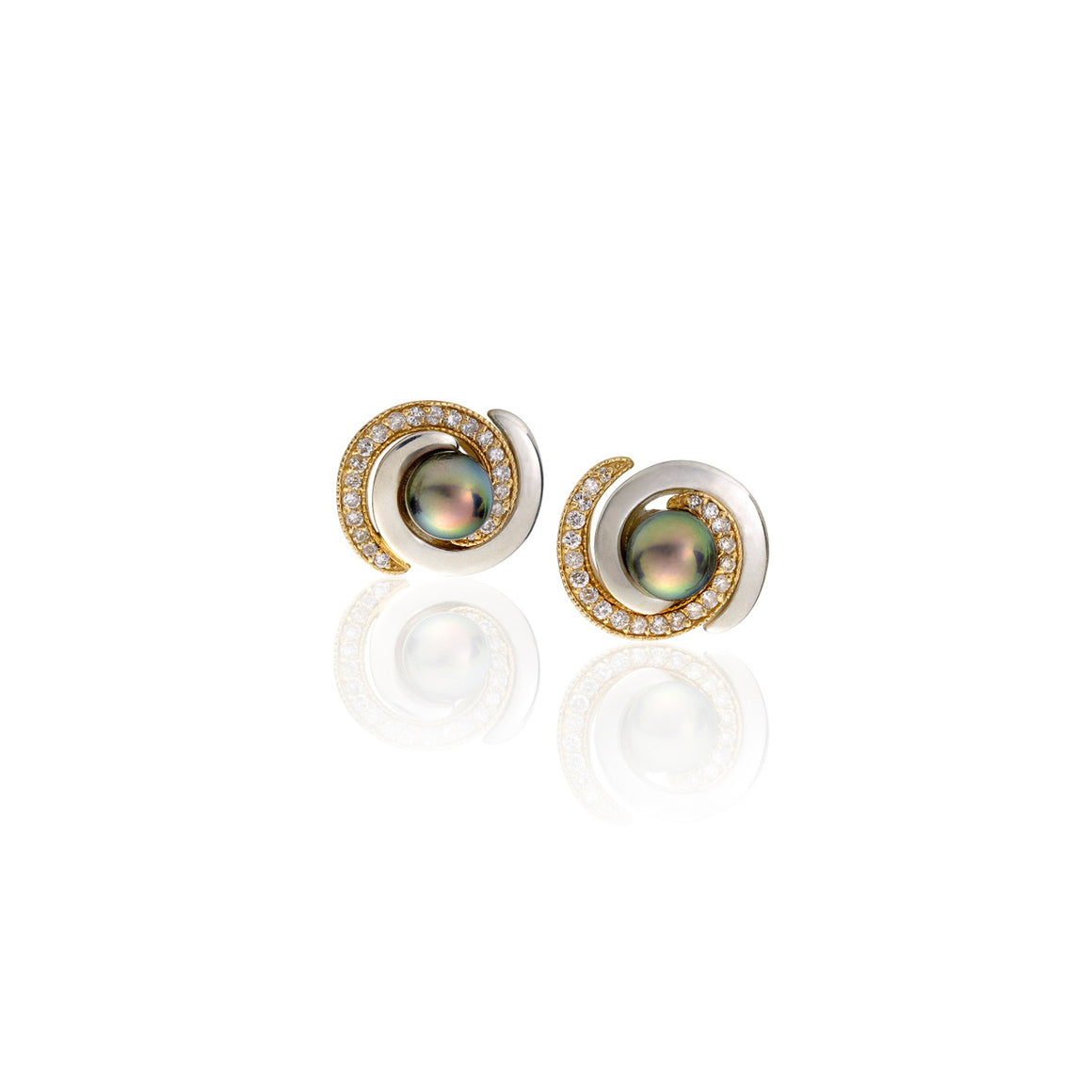 Two-Tone Double Spiral Akoya Pearl Stud Earrings by Martha Seely - Talisman Collection Fine Jewelers