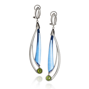 Blue Quartz and Peridot Comet Earrings by Martha Seely - Talisman Collection Fine Jewelers