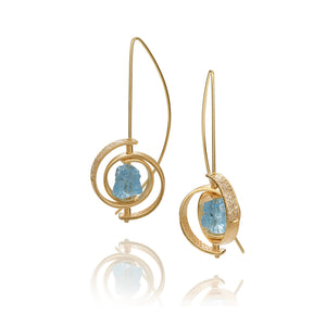 Ceres Spiral Aquamarine Earrings by Martha Seely - Talisman Collection Fine Jewelers