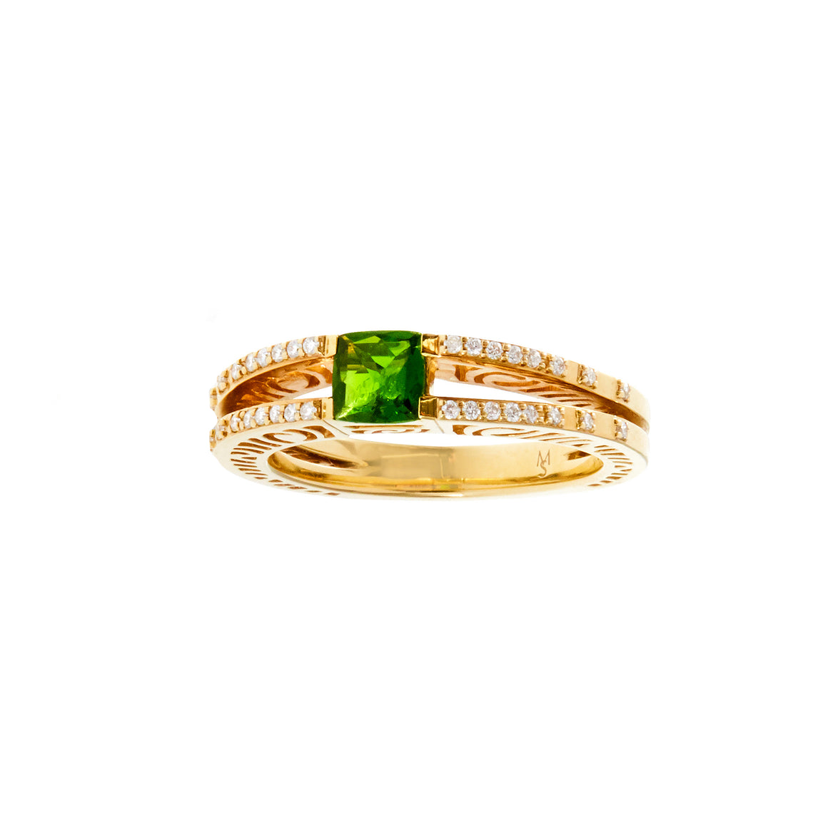 Martha Seely 14k Yellow Gold and Chrome Tourmaline Ring