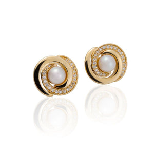 Double Spiral Akoya Pearl Stud Earrings by Martha Seely