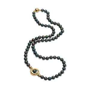 Orbit Pearl with Petite Pave Spiral Necklace by Martha Seely