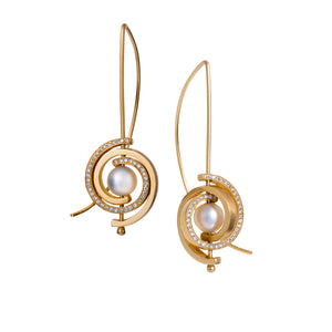 Petite Gold and Diamond Spiral Earrings by Martha Seely