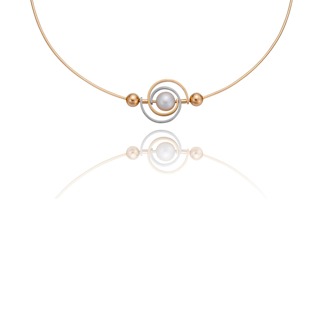 Single Spiral Orbit Necklace by Martha Seely