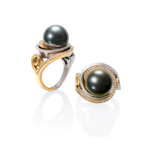 Two-Tone Pearl and Diamond Ring by Martha Seely
