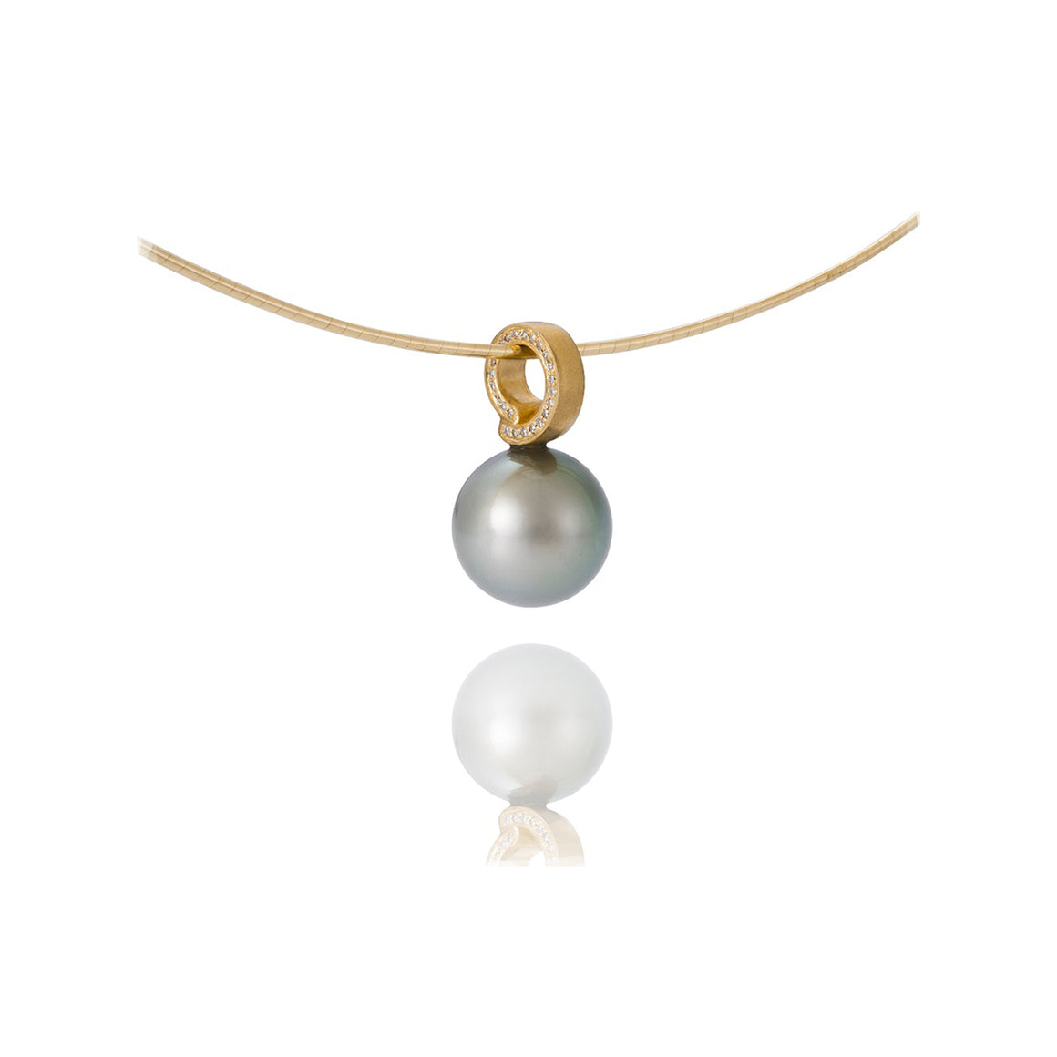 Tahitian Pearl and Side Diamond Pendant by Martha Seely